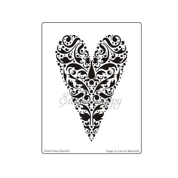 Fém stencil Szívdekor, Szerelem 14,5x11cm