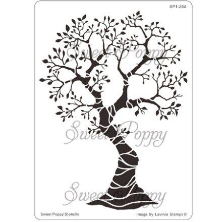 Fém stencil fa, Évszakok fája 16x11,5cm