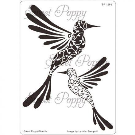 Fém stencil madaras, kolibri duo 16x11,5cm