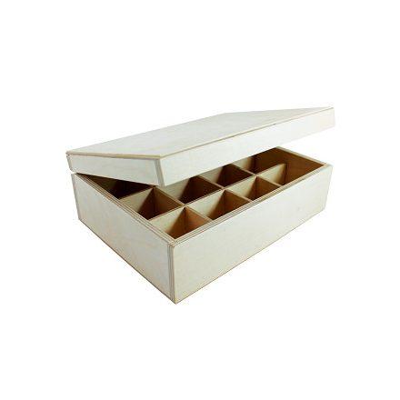 Fa teafiltertartó doboz 12rekeszes
