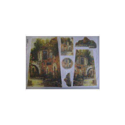 DFS073 Dekupázs rizspapír 48x33 cm arch tájkép