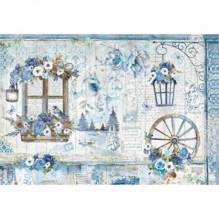 DFS409 Dekupázs rizspapír 48x33cm kék hangulatos, romantikus kép