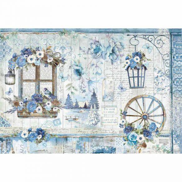 Dekupázs rizspapír 48x33cm kék hangulatos, romantikus kép (Kék világ) DFS409