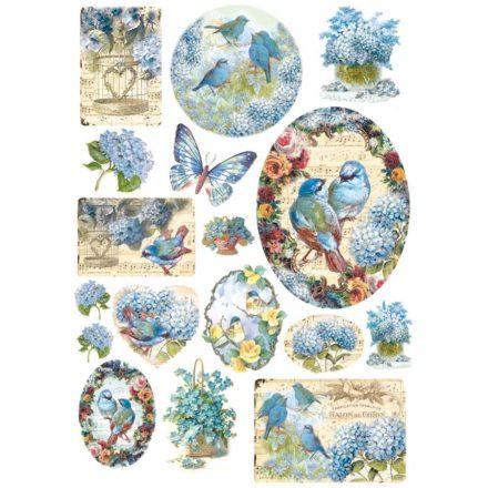DFSA4077 Dekupázs rizspapir kék madarak és virágok A4 méret