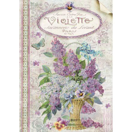 DFSA4101 rizspapír Orgonacsokor A4 Violets Stamperia