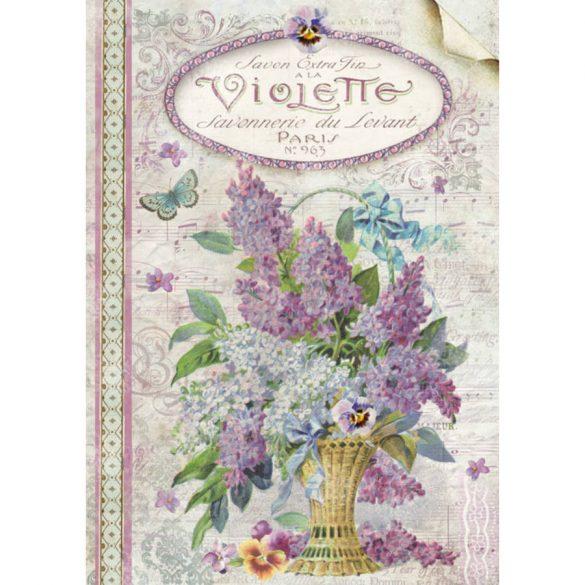 DFSA4101 rizspapír Orgonacsokor Violets Stamperia