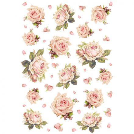 DFSA4105 rizspapír A4 textúra rózsa Stamperia