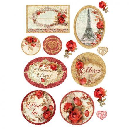 DFSA4137 Dekupázs rizspapír piros rózsák Párizs A4 méret