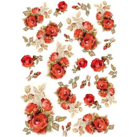 DFSA4154 rizspapír A4 piros rózsák