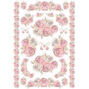 DFSA4157 rizspapír Rózsacsokor Garland roses and Bordures Stamperia