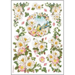 DFSA4177 rizspapír Fehér virágok és madárka Stamperia