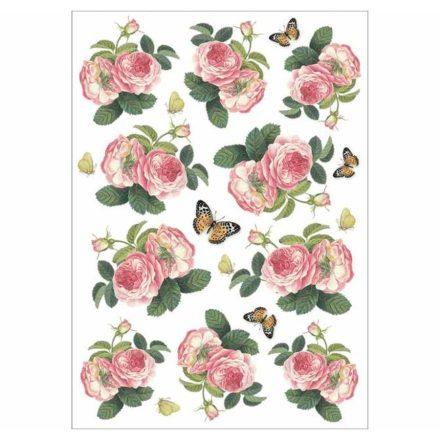 DFSA4378 rizspapír A4 rózsák és pillangók