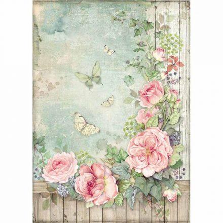 DFSA4450 dekupázs rizspapír rózsainda kerítésen és pillangók A4
