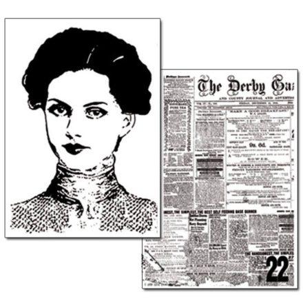 DFTR054 Transzferpapír A4 - 2 ív Newspaper és arc Stamperia