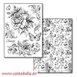 Transzfer papír 2 ív A4 - A4 B/W Rózsák és pillangók Stamperia DFTR081