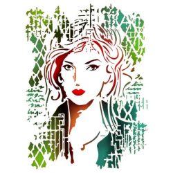 Stencil KSG367 Női arc G méret 21x29,7cm