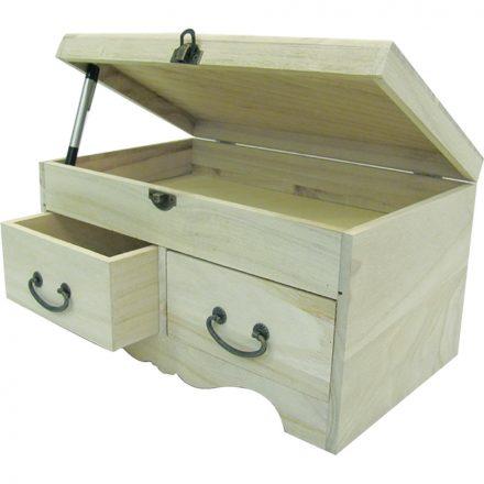 Minikomód 2 kisfiókkal és 1 nagyfiókkal nyitható tetővel 30x18x16,5cm