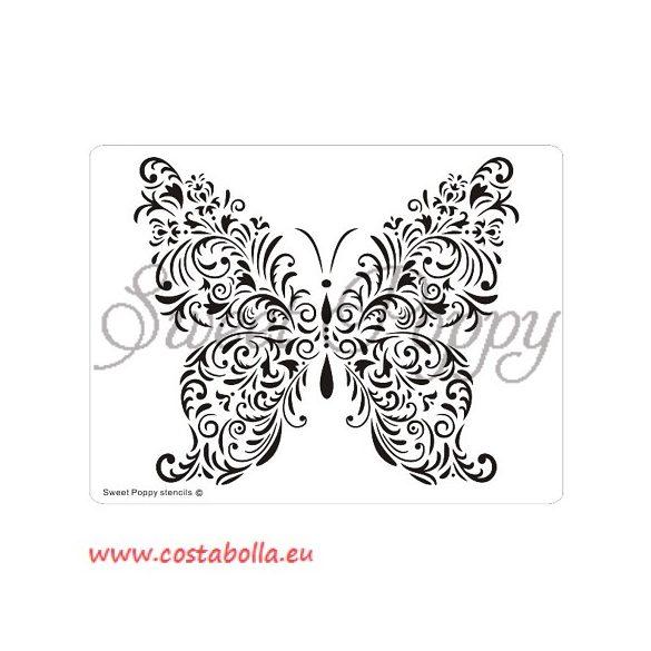 Fém stencil lepke, díszes pillangó 14,5x11cm