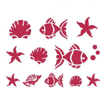 Stencil KSD04 tengeri, kicsi halak D méret 20x15cm