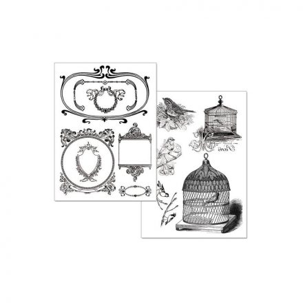 Transzfer papír 2 ív A4 - kalitkák DFTR001 Stamperia
